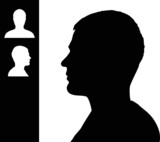 Young man head silhouette