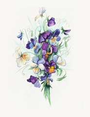 Decoration with blooming violets. Bouquet of violets