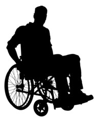 Silhouette Businessman Sitting On Wheelchair