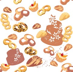 Seamless design with pastries