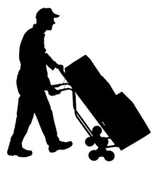 Silhouette Delivery Man Pushing Handtruck