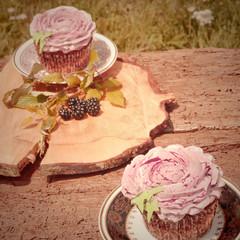 Cupcakes vintage pastel tone