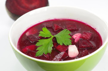 appetizing hot beetroot soup