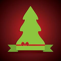 Creative illustration of a green Christmas tree on ribbon