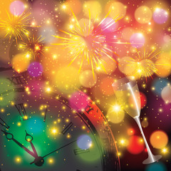 Abstract winter New Year background with fireworks