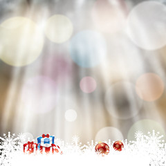 Blurry forest background with frozen snowflakes