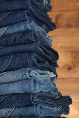Lot of different blue jeans
