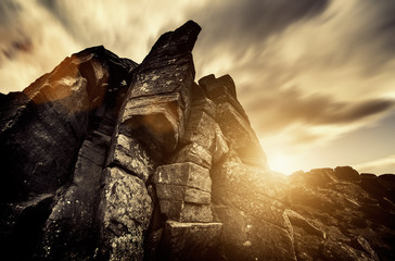 dramatic rock sunlight