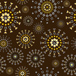 Brown background with geometric shapes flowers