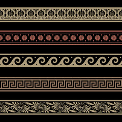 Greek patterns. Border decoration elements. Seamless vector file