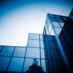 blue toned office building
