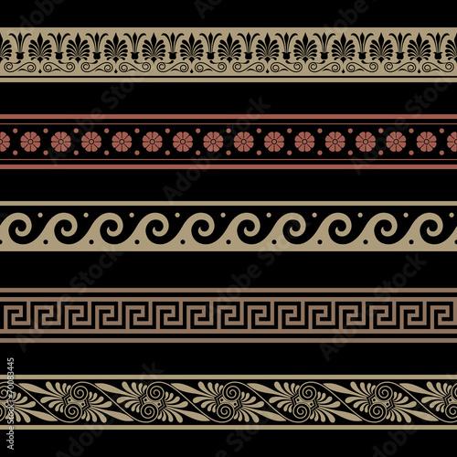 Greek patterns. Border decoration elements. Seamless vector file