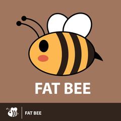 Cute fat bee symbol icon
