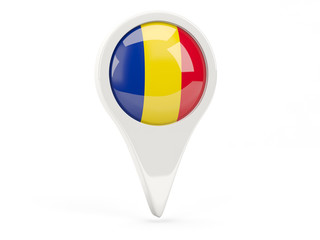 Round flag icon of romania