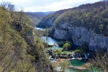 Panorama of the Korana River Vally Watterfalls at Plitvice