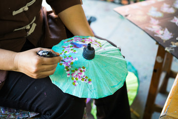 Umbrella painting, Fabric umbrella, Chiang mai