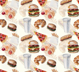 Fast food. Food backdrop.  Seamless Pattern.