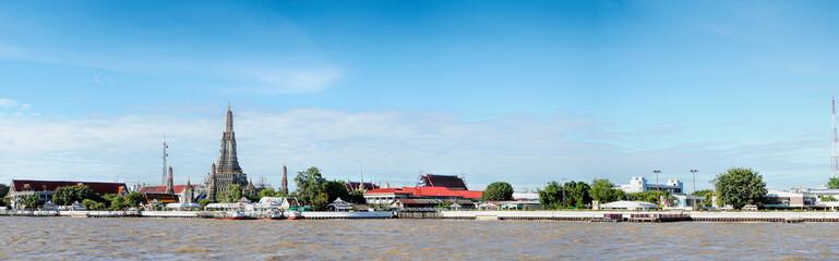 Wat Arun Temple of Dawn in Panoramic View Bangkok Thailand