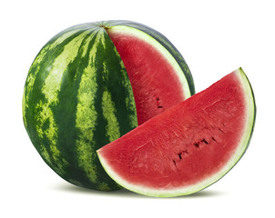 Big watermelon and slice isolated on white background