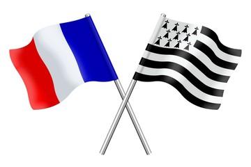Drapeau: France et Bretagne