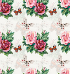 Seamless pattern of roses. Flowers and butterflies