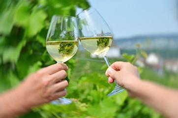 Pair of wineglasses against vineyards in Rheinau, Switzerland
