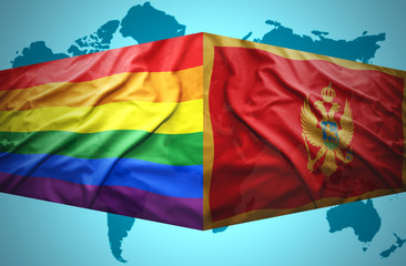 Waving Montenegrin and Gay flags