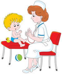 Medical examination in a pediatric polyclinic