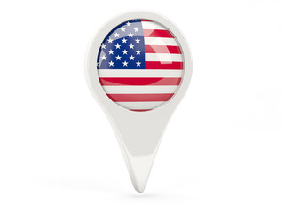 Round flag icon of united states of america