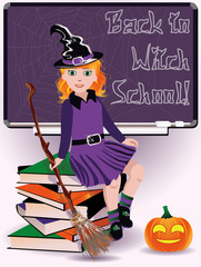 Back to Witch School. Little witch and books