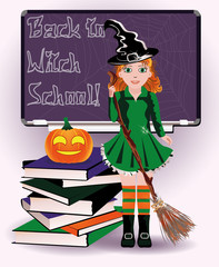 Back to Witch School. Cute witch and pumpkin books