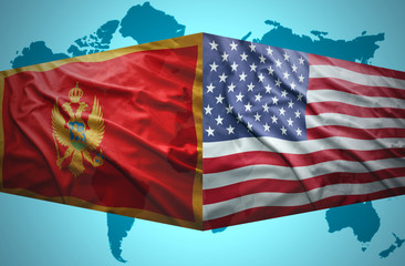 Waving Montenegrin and American flags