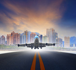 jet plane take off from urban airport runways use for air transp