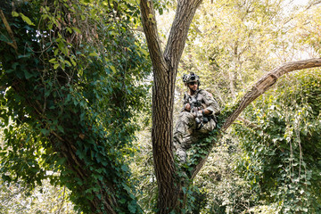 Soldier in uniform of the U.S. Army on the trees