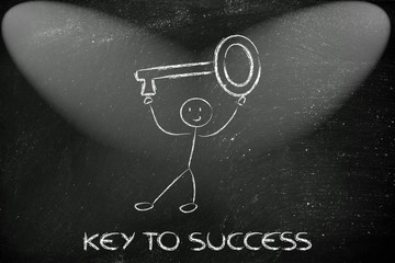 man holding oversized key, metaphor of key to success