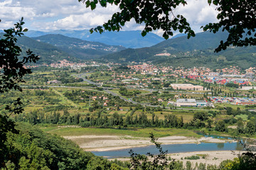 View of Lunigiana, Italy. Magra river etc.