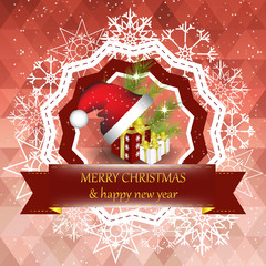 Christmas and new year card on a red background with decoration
