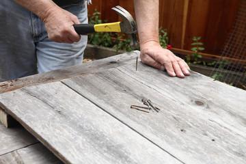 Using old wood and nails DIY