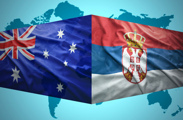 Waving Serbian and Australian flags