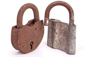 Two old rusty padlocks