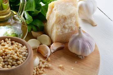 Raw Ingredients for pasta pesto