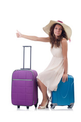 Woman traveller with suitcase isolated on white