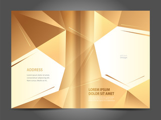 Brochure design template gold abstract polygon background