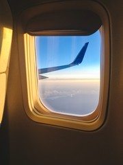 aircraft wing through the window