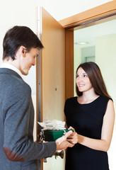 Couple buying something online using credit card