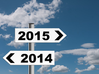 New year 2015 road sign, signpost.
