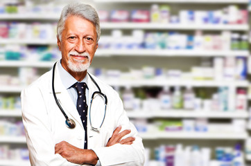 portrait of a man in the pharmacy