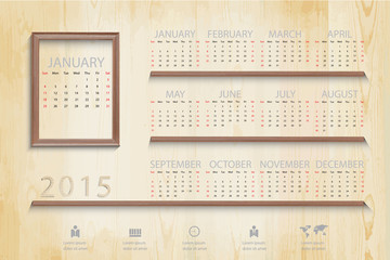 Simple calendar on Picture wood frame background and business ic