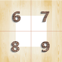 6 7 8 9  wooden font with shadow on wood boards background