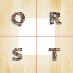 Q R S T wooden font with shadow on wood boards background, vecto
